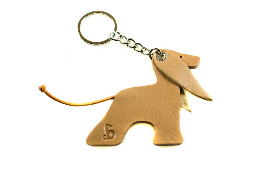 Afghan hound key ring in red domino