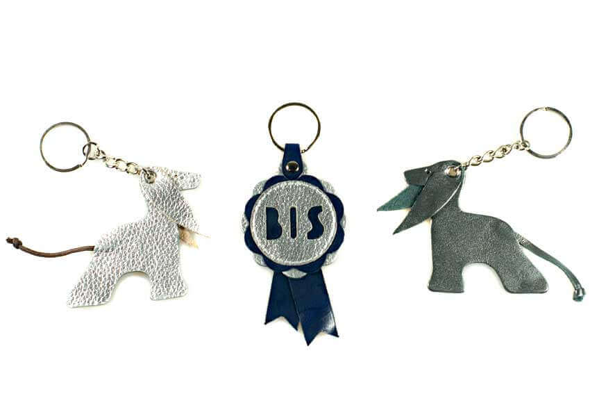 Afghan hound leather key rings in silver and blue