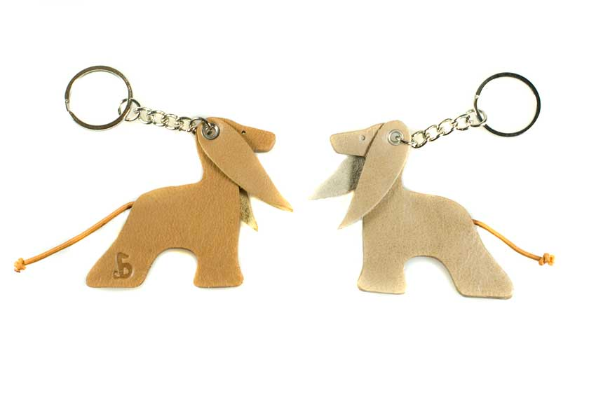 Gold and cream Afghan hound leather key rings