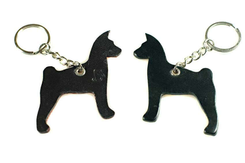 Black leather Basenji keyring chain fob