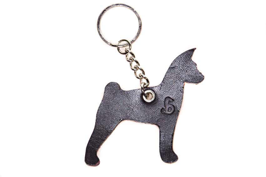 Basenji key ring chain fob / bag charm. Brown side of leather keyring