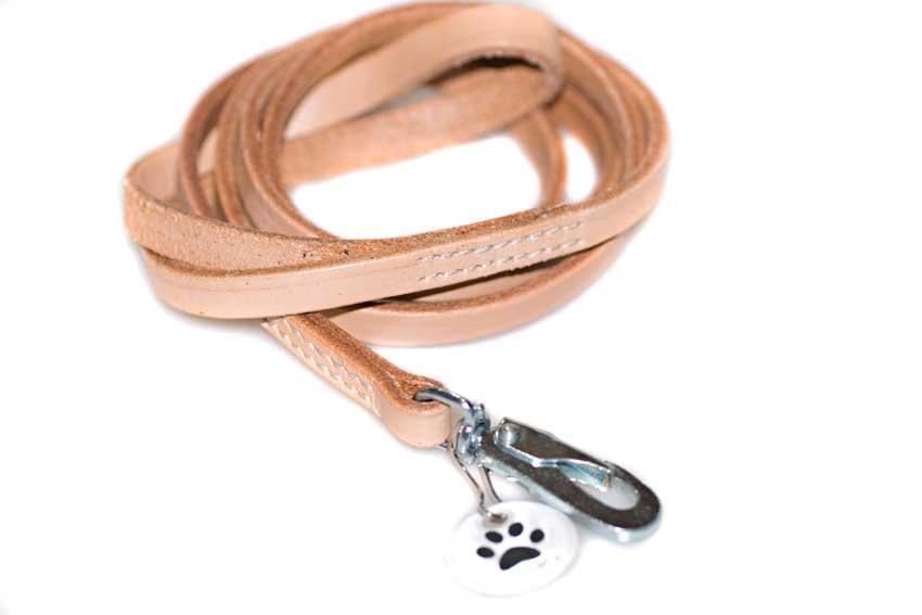 Medium beige leather dog leash 1.5m / 5ft long