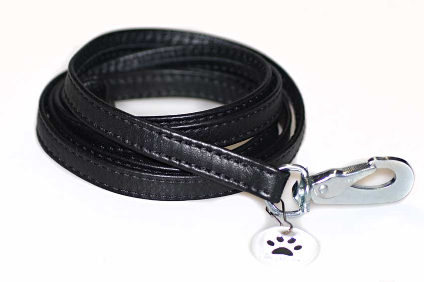 Black nappa leather double folded stitched dog lead 1.5m / 5ft