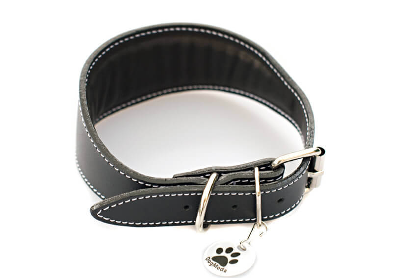 Traditional handmade black leather hound collar is fully lined and padded