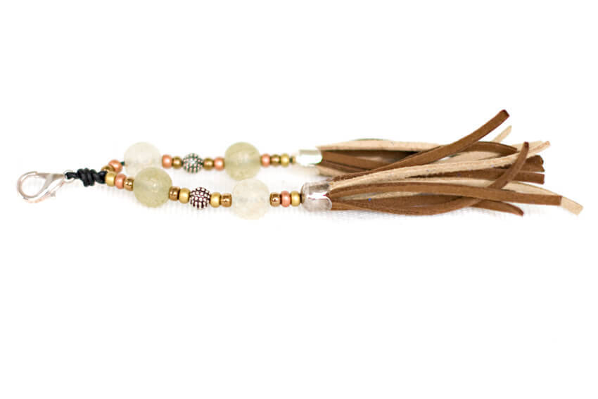 Handmade dog collar tassel in beige and brown combination