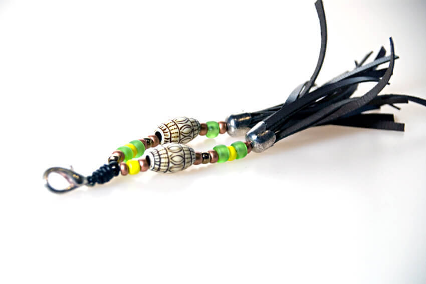 Brown collar tassel with oriental beads