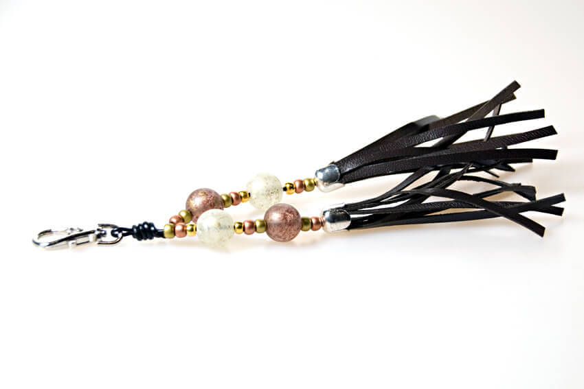 Brown collar tassel to match traditional handmade brown leather hound collar