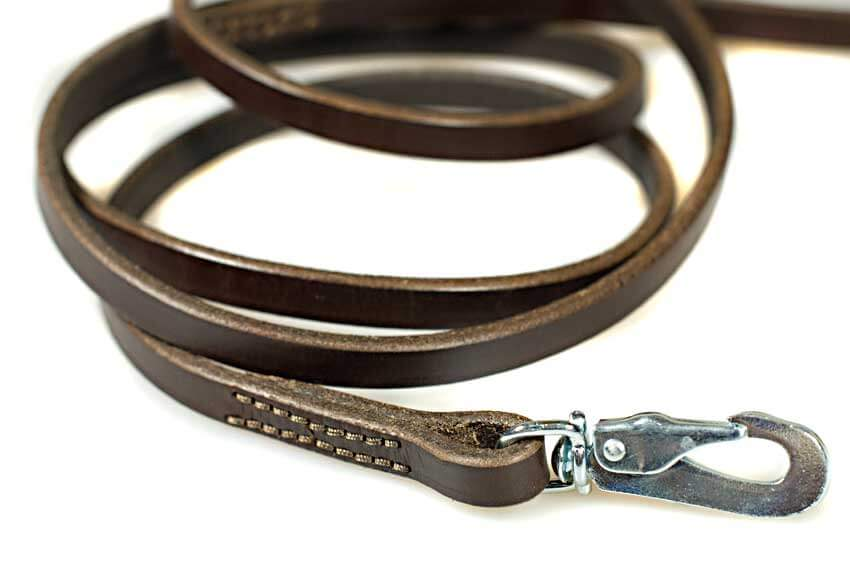 1.5m / 5ft stitched brown leather dog lead
