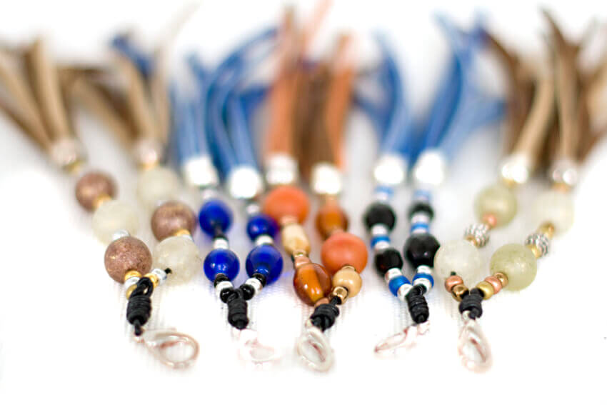 Beige/Blue/Orange dog collar  tassels' colour variations