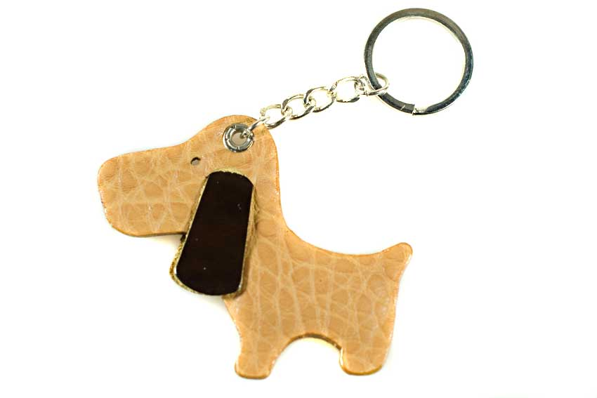 Golden brown leather dog key ring