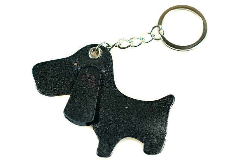 Black cute dog key ring bag charm