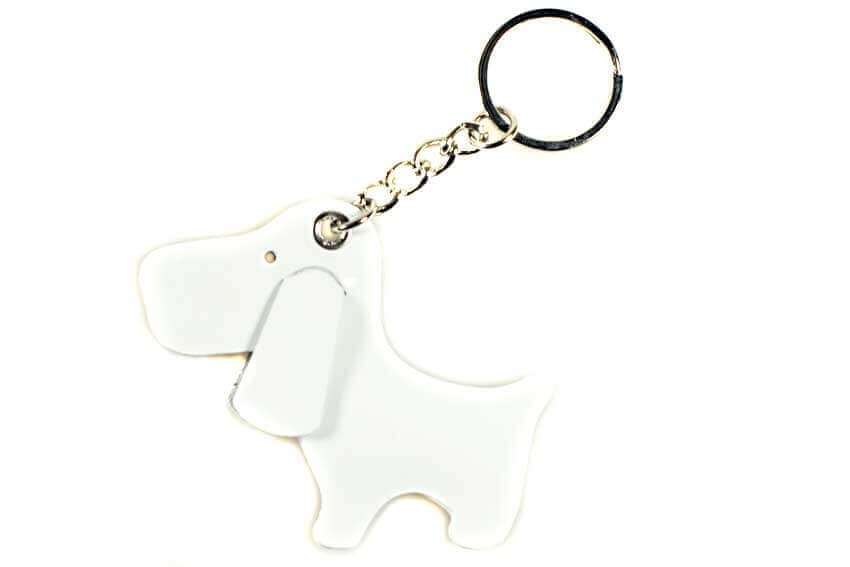 Cute white dog key ring / bag charm from DogModa