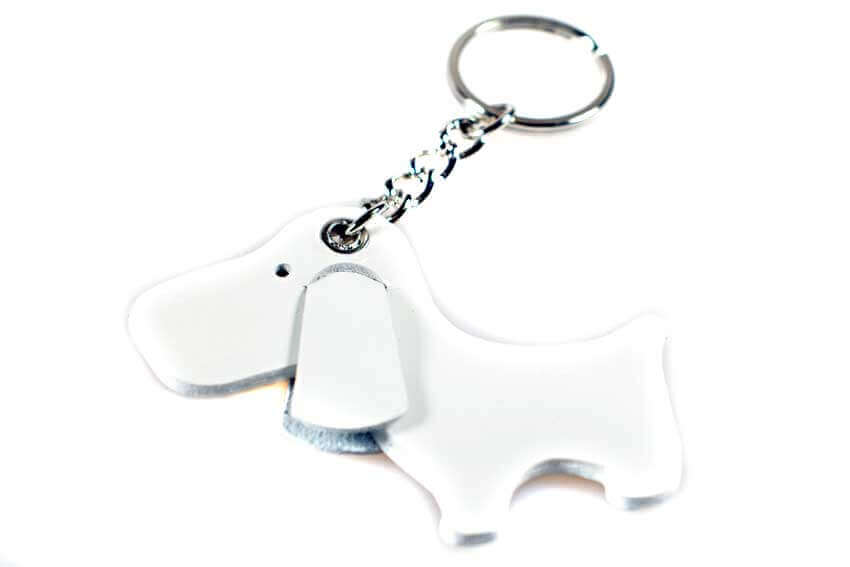 White cute dog leather key ring