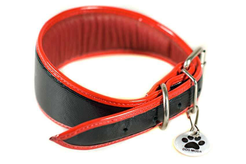 Traditional handmade black leather with red edge piping hound collars from Dog Moda are soft and fully padded