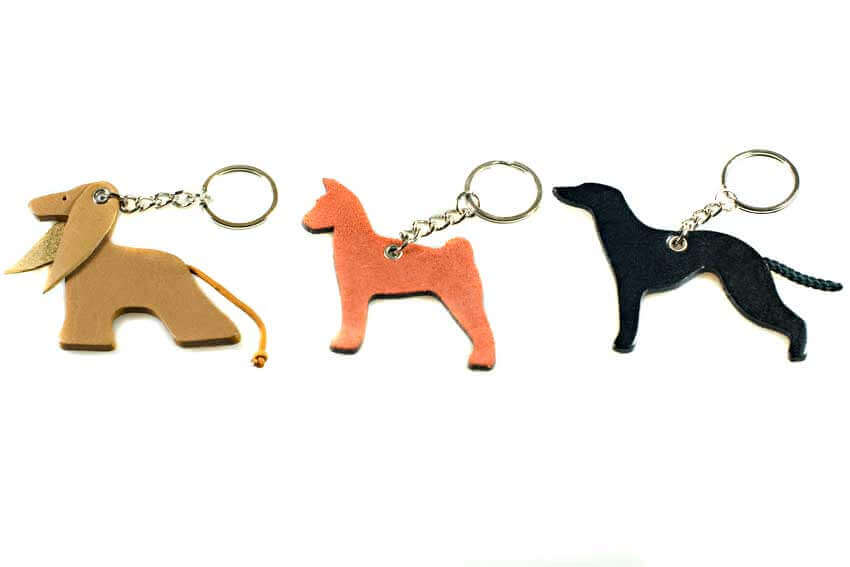 Other breed leather key ring chain fobs / bag charms. Afghan, Basenji, Whippet