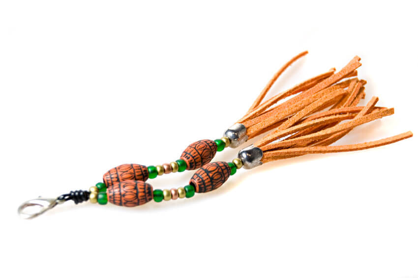 Orange tassel with oriental beads for your hound collar