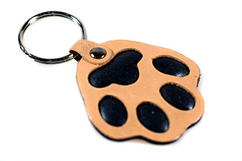 Brown dog paw key ring / bag charm