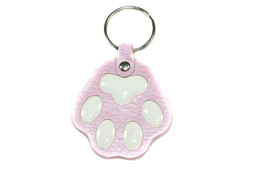 Pink dog paw key ring / charm