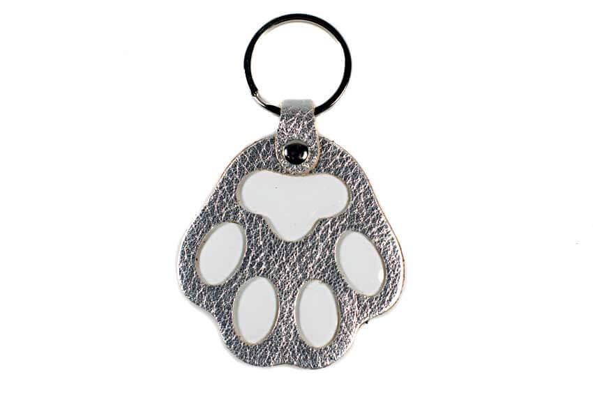 Silver dog paw key ring / charm