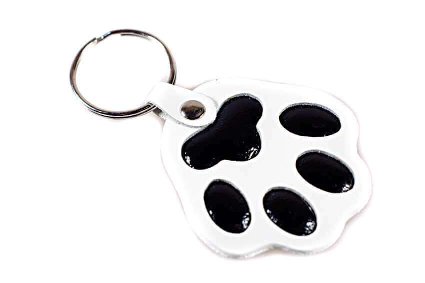 White dog paw key ring / bag charm