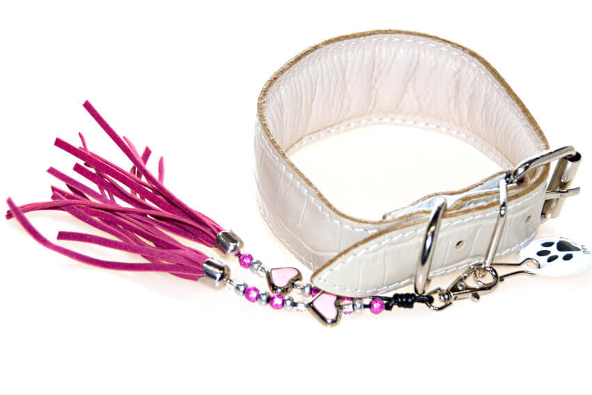 White reptile leather Whippet collar dressed up with a tassel