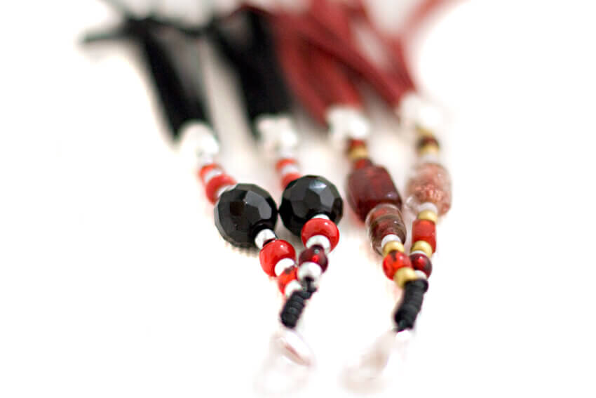 Red and black collar tassels for soft padded black leather sighthound collar with red suede hearts