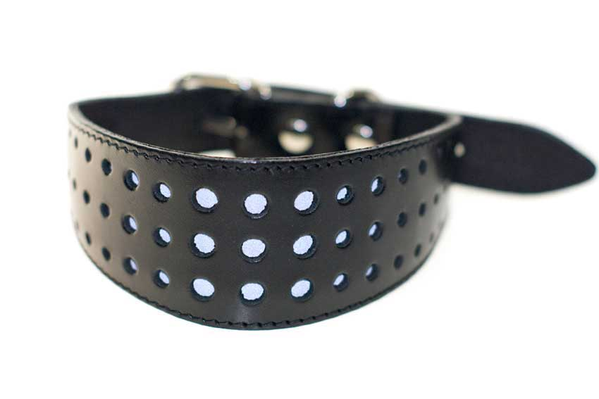 Night safety black leather reflective dog collar