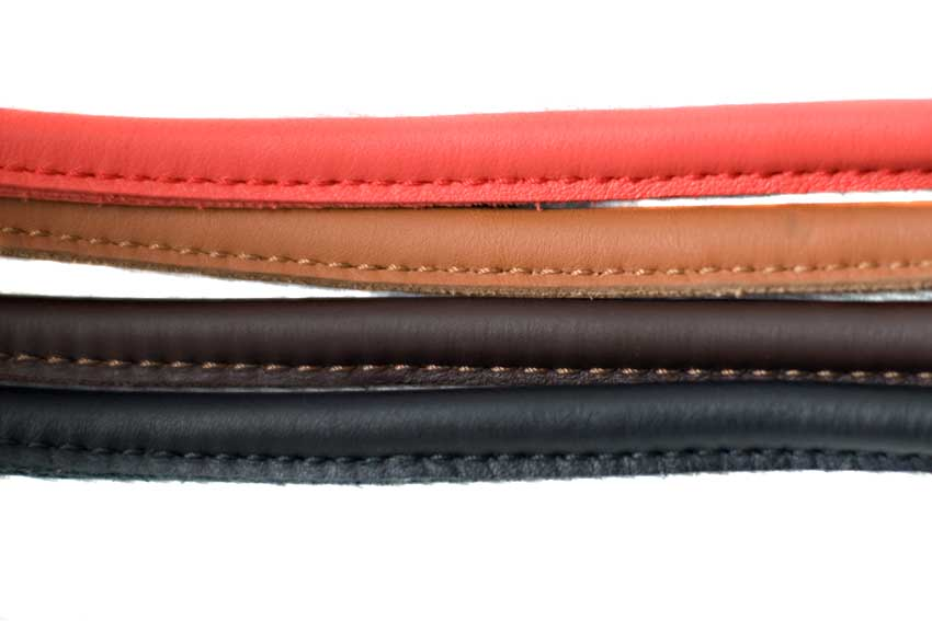 Rolled leather dog leads are available in red, brown, tan and black