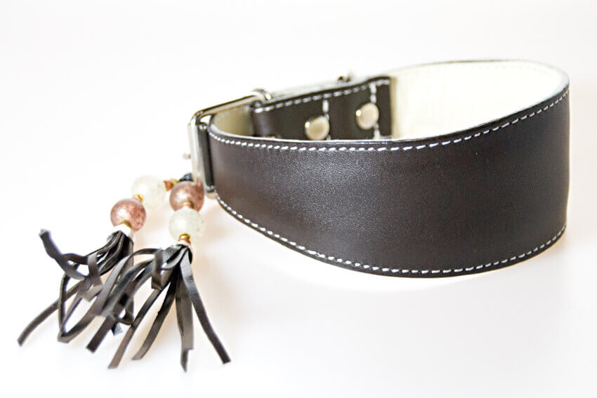 Traditional handmade brown leather hound collar with matching collar tassel