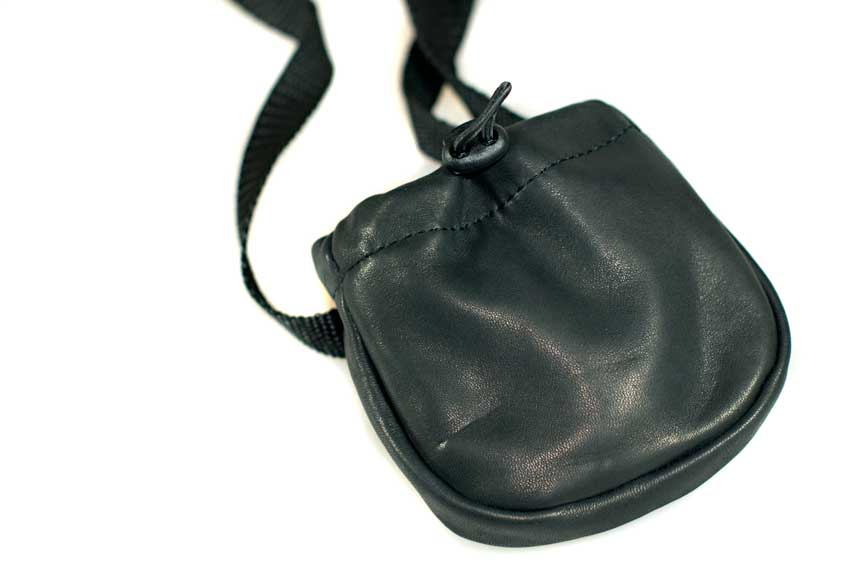 Drawstring closure for easy access to dog training treats