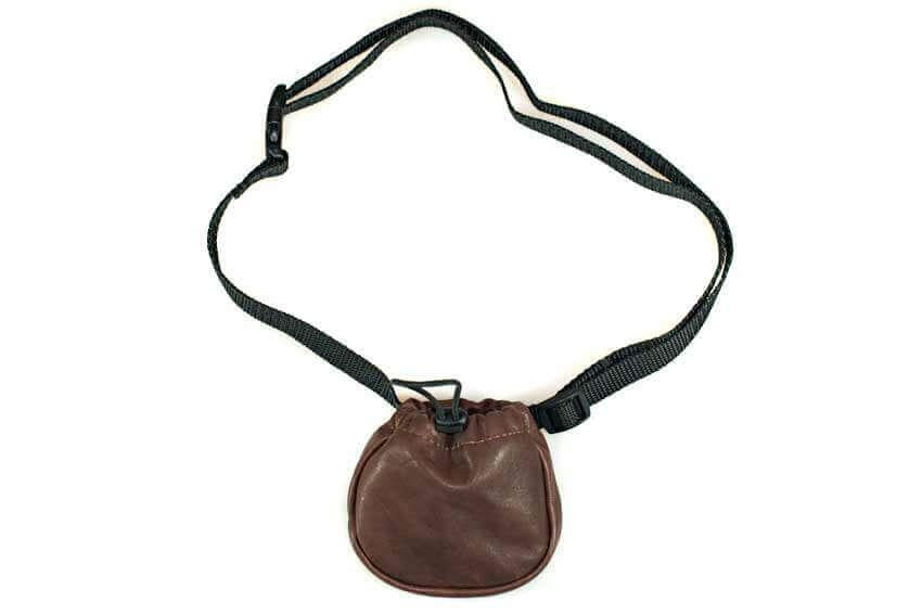 Brown leather dog training treat bag with adjustable belt