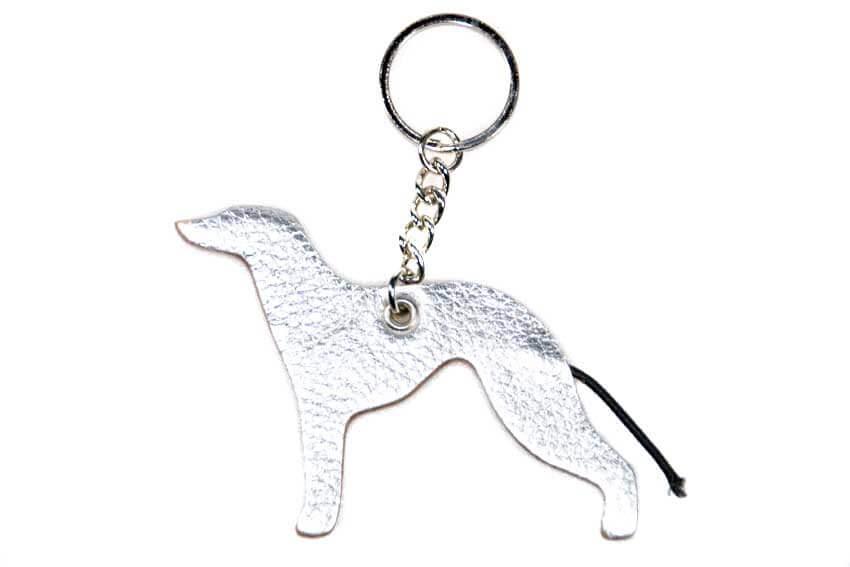 Silver Greyhound keyring fob / bag charm