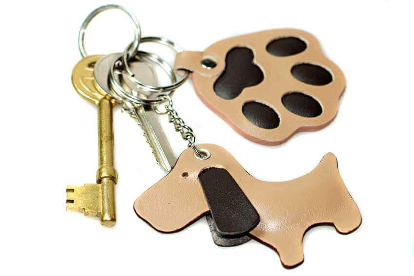 Golden cute dog key ring to look after your keys