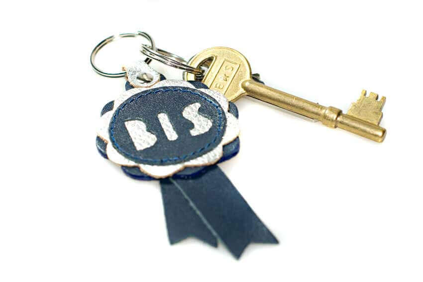 Leather key fob from Dog Moda in bleu & silver