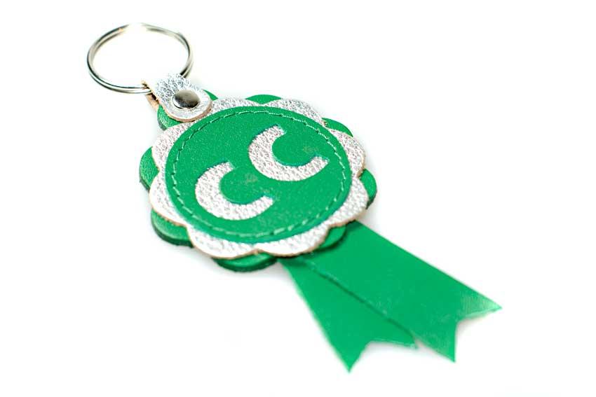 CC winner leather rosette key ring
