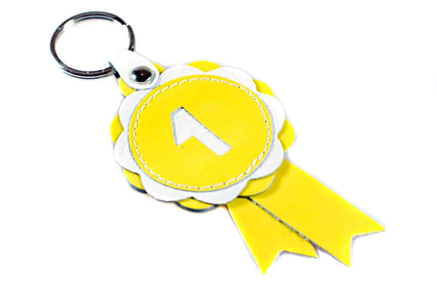 First in class yellow leather show rosette key ring / bag charm