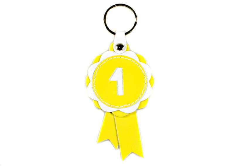 Winer show rosette key ring in yellow leather