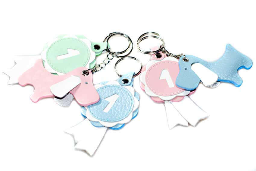 More colour options for Dog Moda's leather winner show rosette key rings / key charms