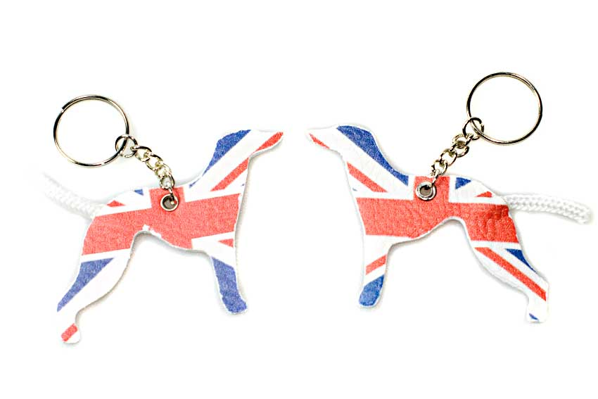 Two UK whippet dogs keyring with Union Jack printed. Pro Brexit vs Anit Brexit whippets