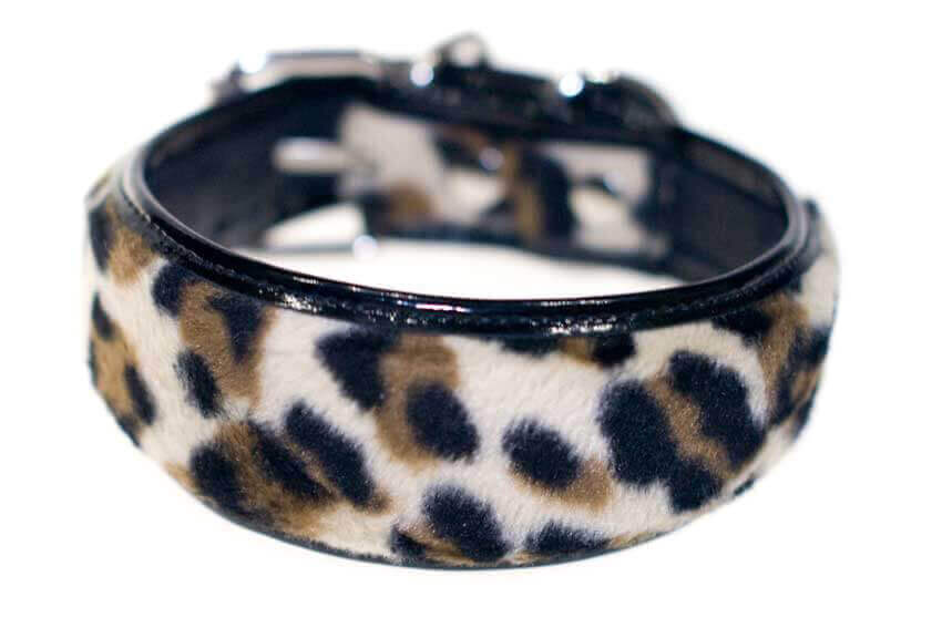 Black leopard faux fur hound collar
