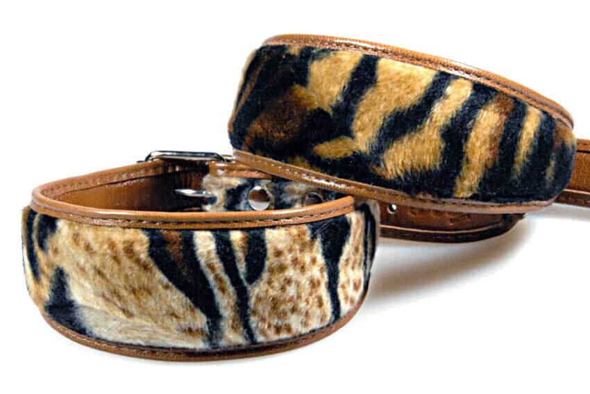 Amur tiger dog collar variations in tiger faux fur pattern