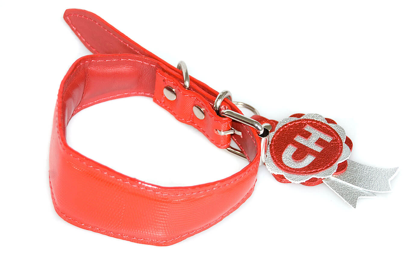 Red whippet collar with collar charm