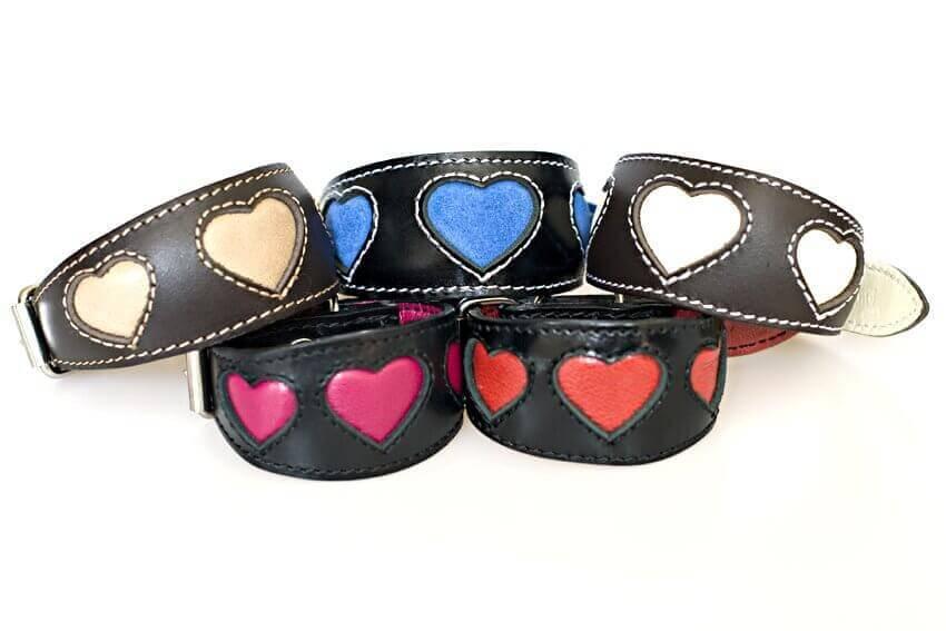 Italian Greyhound hearts leather collars
