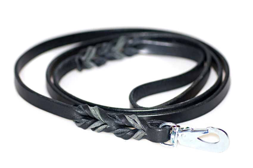 Wide black leather dog lead 1.8m / 6ft long