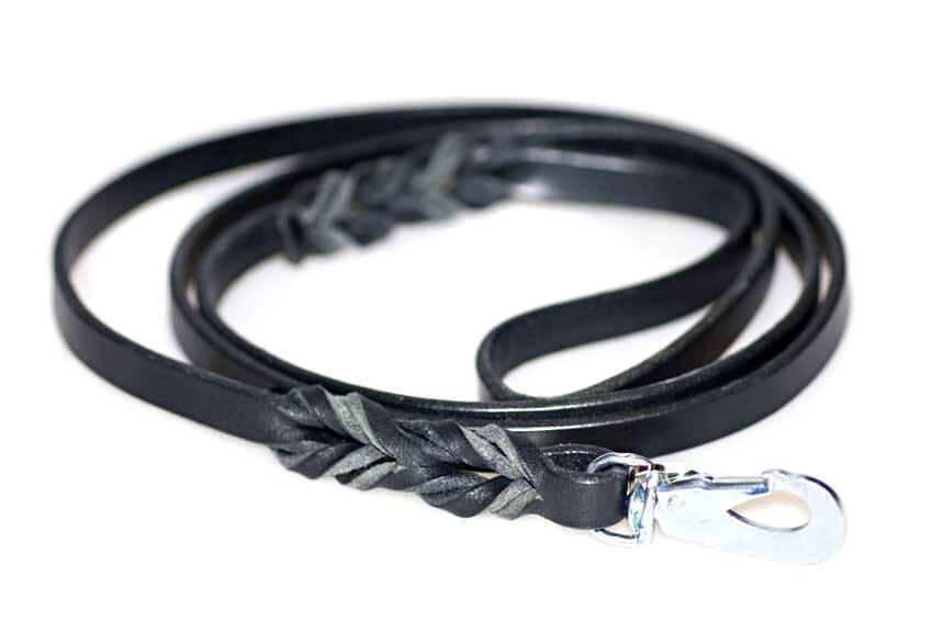 Wide plaited black leather dog leads 1.5m / 5ft