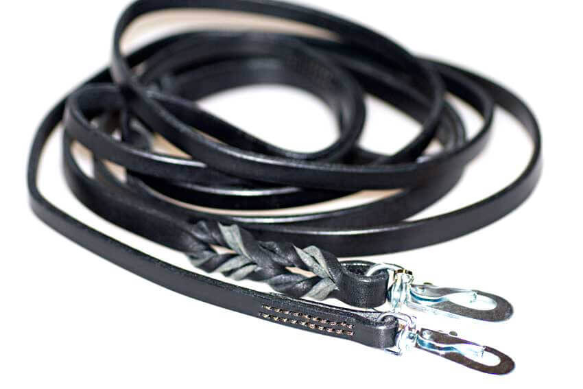 Dog Moda black wide leather dog lead - narrow stitched and wide plaited leather dog leads