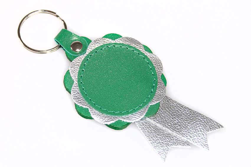 Emerald green and silver leather show rosette key ring