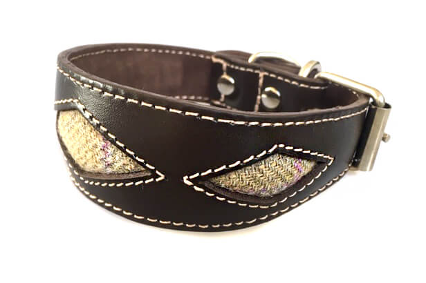 Barley tweed whippet collar