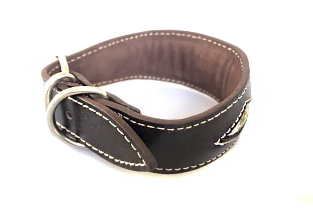 Full leather lining and padding on Whippet collar