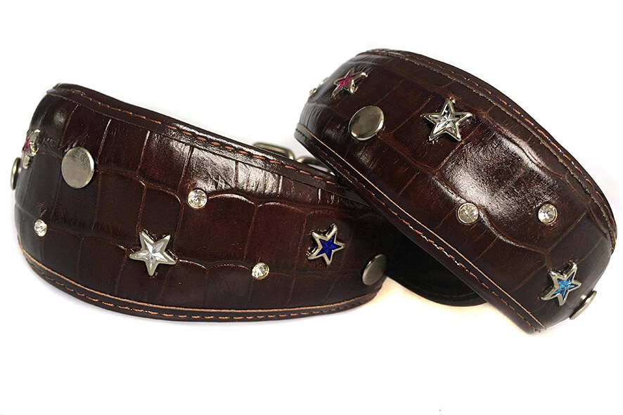 Brown crystal stars hound collar size M and size S